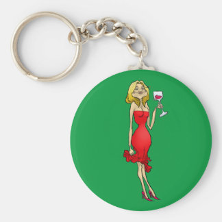 Cartoon illustration of a woman in a red dress. keychain