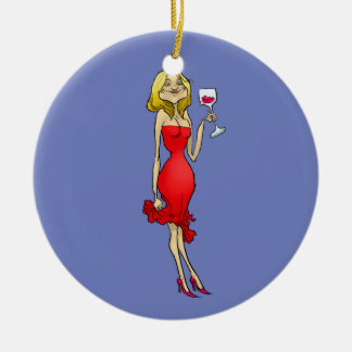 Cartoon illustration of a woman in a red dress. round ceramic ornament