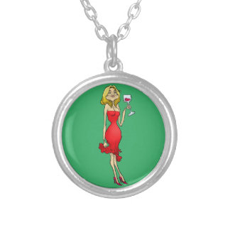 Cartoon illustration of a woman in a red dress. silver plated necklace