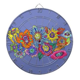 Cartoon illustration of flowers, dartboard. dart board