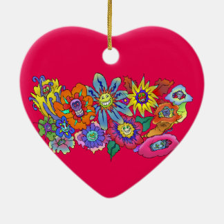 Cartoon illustration of flowers, Heart decoration. Ceramic Heart Ornament