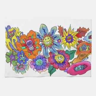 Cartoon illustration of flowers. kitchen towels