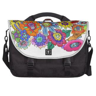 Cartoon illustration of flowers. laptop bags