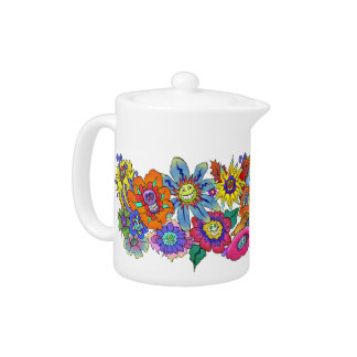 Cartoon illustration of flowers, teapot.
