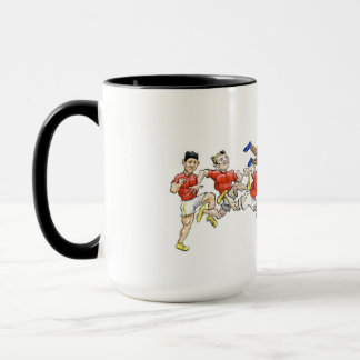 Cartoon Illustrations of rugby players. Mug