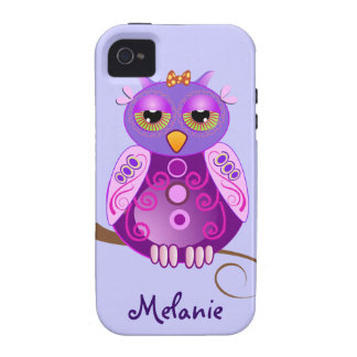 Cartoon iPhone 4 Case-Mate Touch with Owl & name iPhone 4 Case