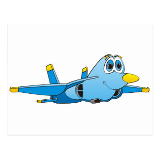 Cartoon Jet Postcard