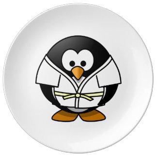 Cartoon Judo Penguin Porcelain Plates