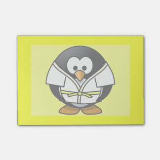 Cartoon Judo Penguin Yellow Background Post-it® Notes
