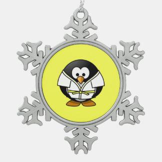 Cartoon Judo Penguin Yellow Background Snowflake Pewter Christmas Ornament