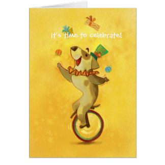Cartoon Juggling Circus Dog on Ball Card