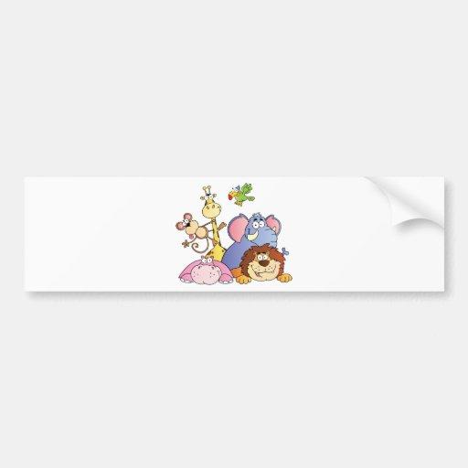 Cartoon Jungle Animals Bumper Sticker