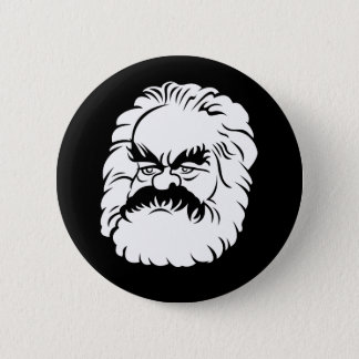 Cartoon Karl Marx Button (Black)