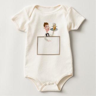 Cartoon Kebab Waiter Signboard Baby Bodysuit