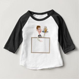 Cartoon Kebab Waiter Signboard Baby T-Shirt