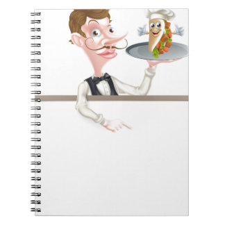 Cartoon Kebab Waiter Signboard Spiral Note Book