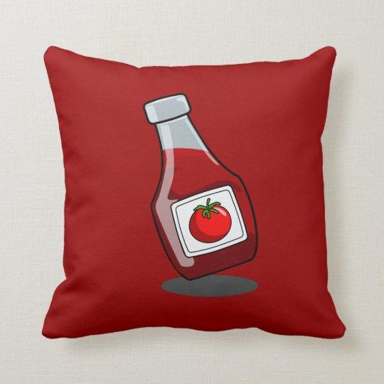 Cartoon Ketchup Bottle Throw Pillow