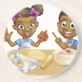 Cartoon Kid Bakers Cooking Coaster