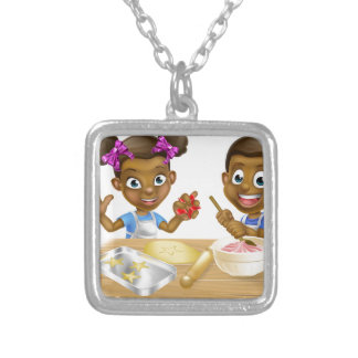 Cartoon Kid Bakers Cooking Silver Plated Necklace