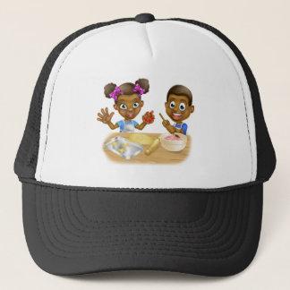 Cartoon Kid Bakers Cooking Trucker Hat