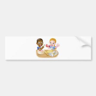 Cartoon Kid Chefs Baking Cakes Bumper Sticker