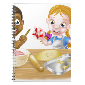 Cartoon Kid Chefs Baking Cakes Notebook