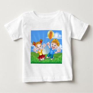 Cartoon Kids Outdoors Jumping with Balloon Baby T-Shirt