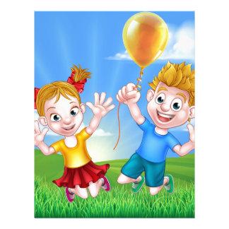 Cartoon Kids Outdoors Jumping with Balloon Letterhead