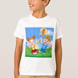 Cartoon Kids Outdoors Jumping with Balloon T-Shirt
