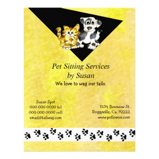 Cartoon Kitten Puppy Pet Sitting Flyer