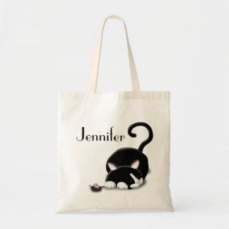 Cartoon Kitty with toy mouse Canvas Bags