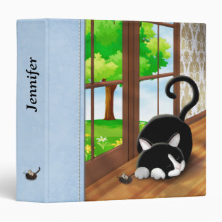 Cartoon Kitty with toy mouse 3 Ring Binders