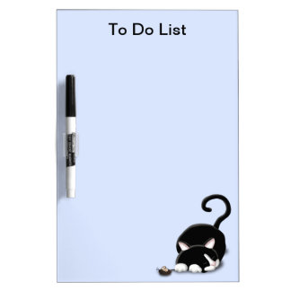 Cartoon Kitty with toy mouse Dry Erase White Board
