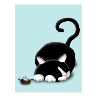 Cartoon Kitty with toy mouse Postcard