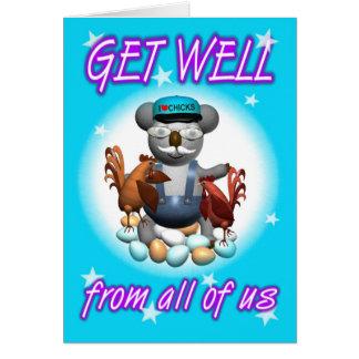 Cartoon Koala Chicken Get Well Card