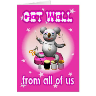 Cartoon Koala Get Well Seamtress Card