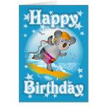Cartoon Koala Happy Birthday Surfer Card-blank Greeting Card