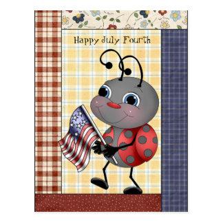 Cartoon Ladybug July Fourth postcard