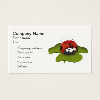 Cartoon ladybug on a green leaf business card