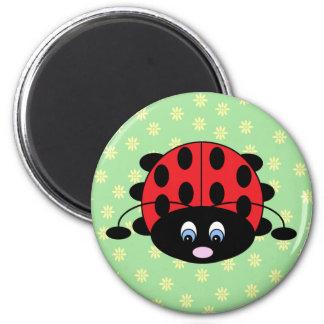 Cartoon Ladybug with Flowers Magnet