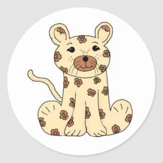 Cartoon Leopard Classic Round Sticker