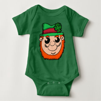 Cartoon Leprechaun Head Baby Bodysuit