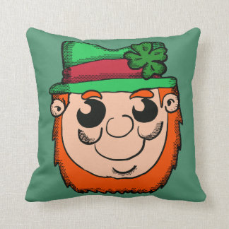 Cartoon Leprechaun Head Throw Pillow