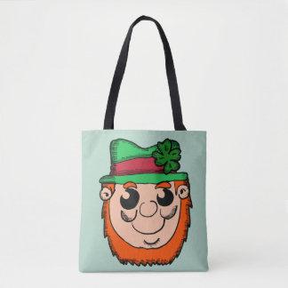 Cartoon Leprechaun Head Tote Bag
