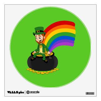 Cartoon leprechaun sitting on a pot of gold wall decal