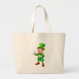 Cartoon Leprechaun St Patricks Day Character Large Tote Bag