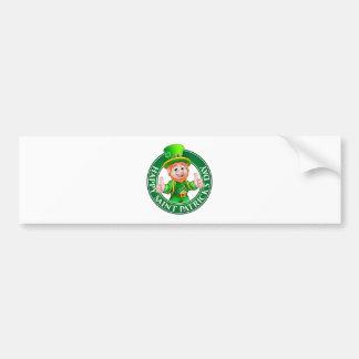 Cartoon Leprechaun St Patricks Day Sign Bumper Sticker