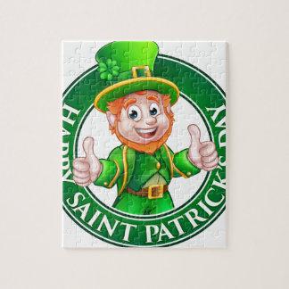 Cartoon Leprechaun St Patricks Day Sign Jigsaw Puzzle