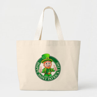 Cartoon Leprechaun St Patricks Day Sign Large Tote Bag