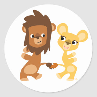 Cartoon Lion and Lioness  dancing round sticker